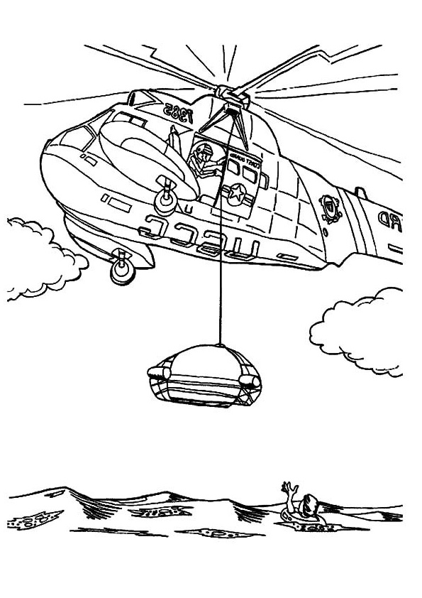 Rescue Operation Helicopter Coloring Page Printable Pictures Sea Rescue Operation