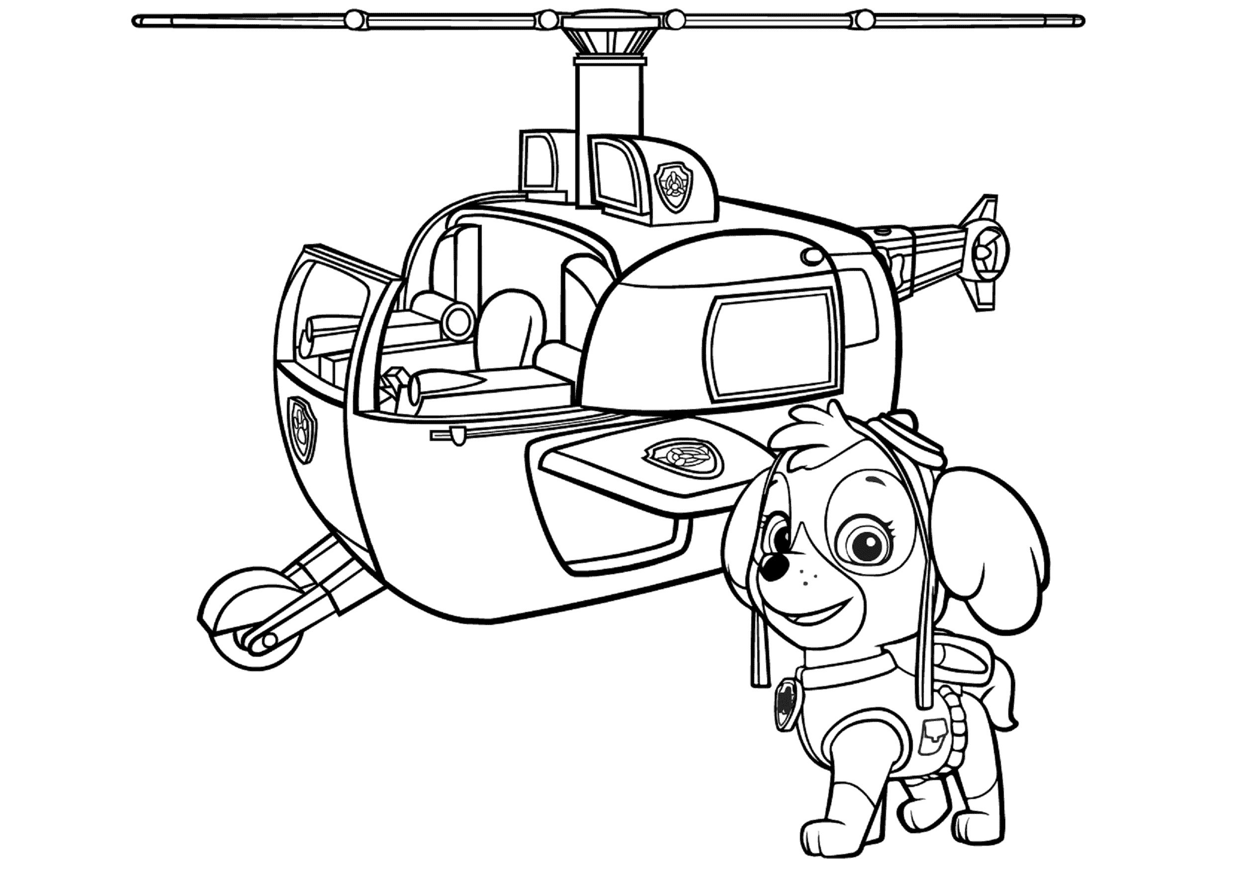 Skye Helicopter Coloring Pages Paw Patrol Skye Airlift and Rescue Pup with Helicopter