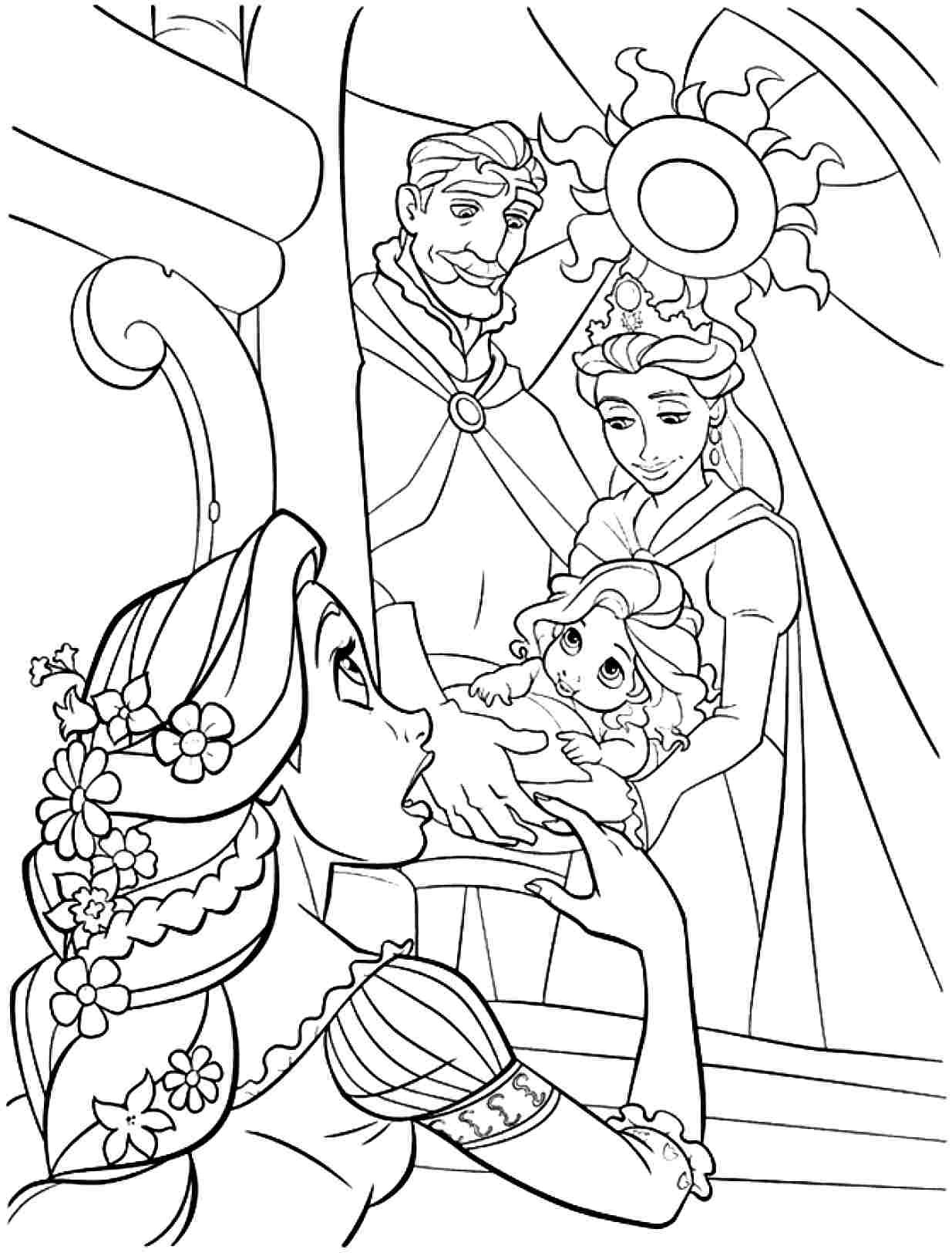 Baby Rapunzel Tangled Coloring Page