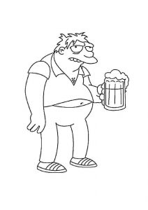 Barney Gumble Simpsons Coloring Pages Homer Simpson Best Friend Town Drunk