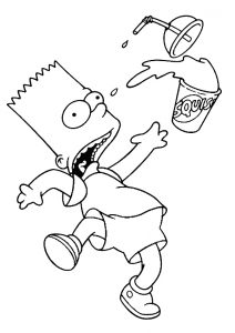 Bart Simpson Funny Coloring Pages Bart Got Skid and Dropped his Squishee Drink