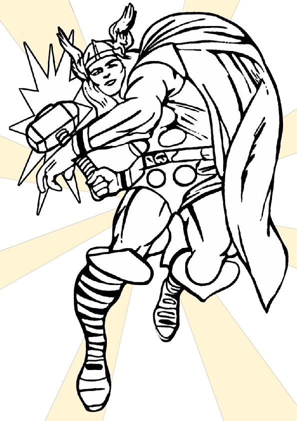 Classic Old Comic Style Thor Coloring Pages