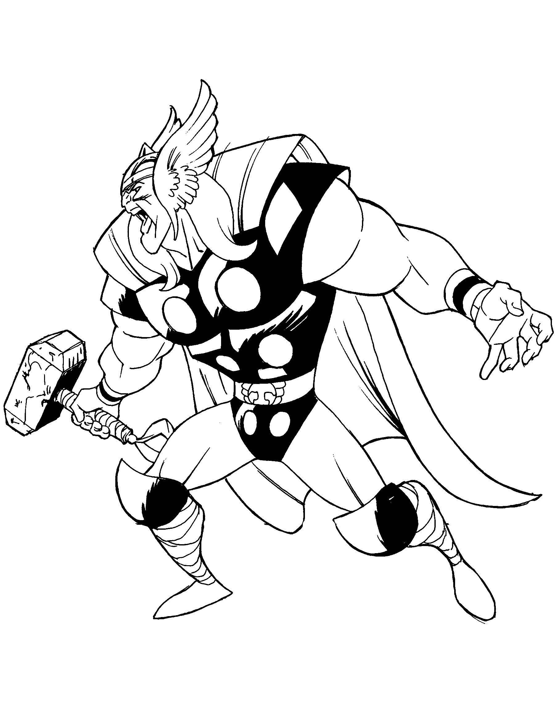Classic Thor Coloring Page