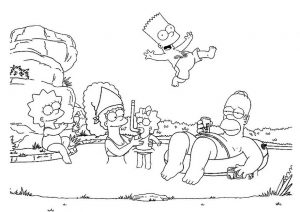 Coloring Book Pages Simpsons Family Enjoying Summer Vacation in Water Pool