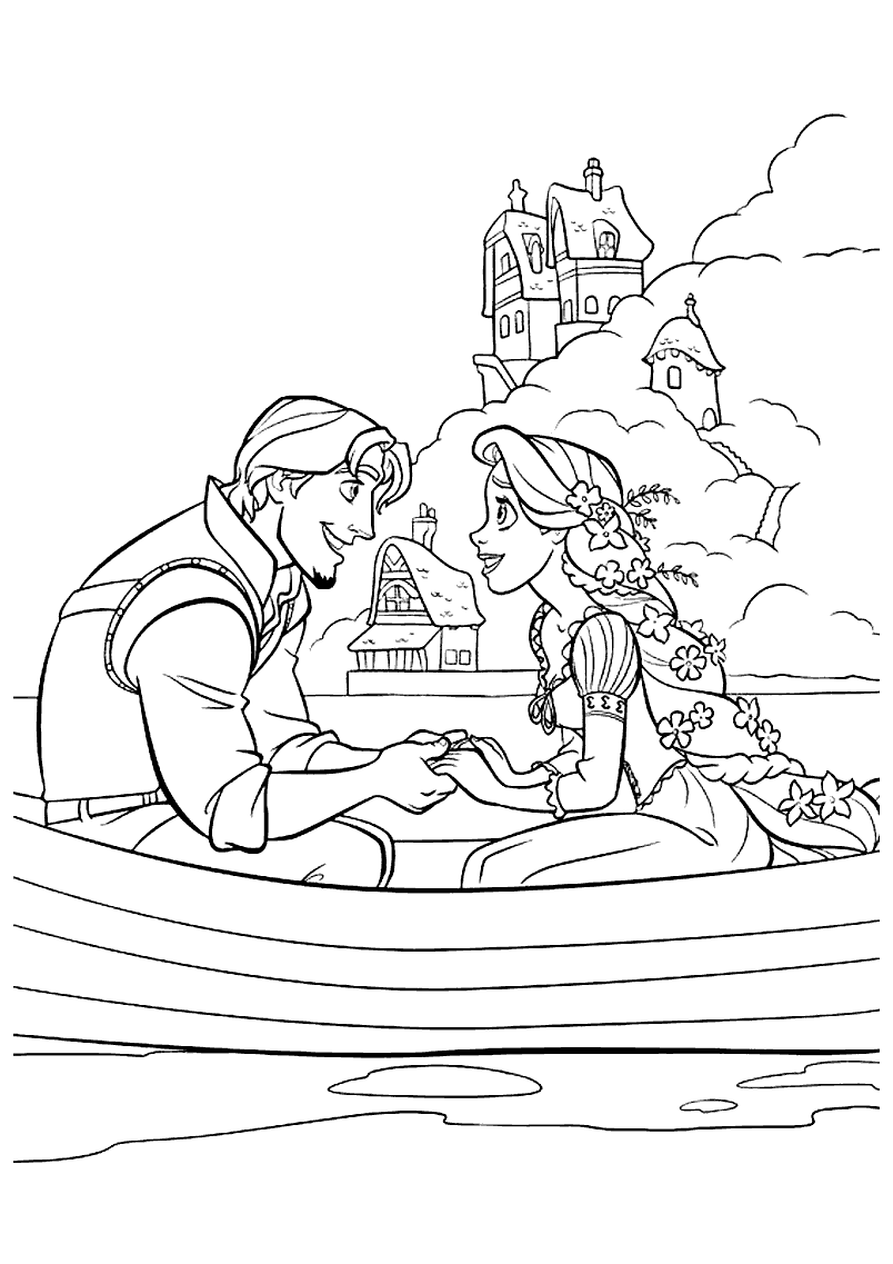 Coloring Pages Tangled Rapunzel and Eugene Flynn On a Boat