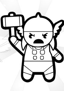 Cute Chibi Baby Thor Simple and Easy Thor Coloring Pages