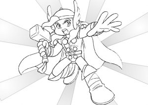 Cute Little Baby Thor in Action Coloring Pages