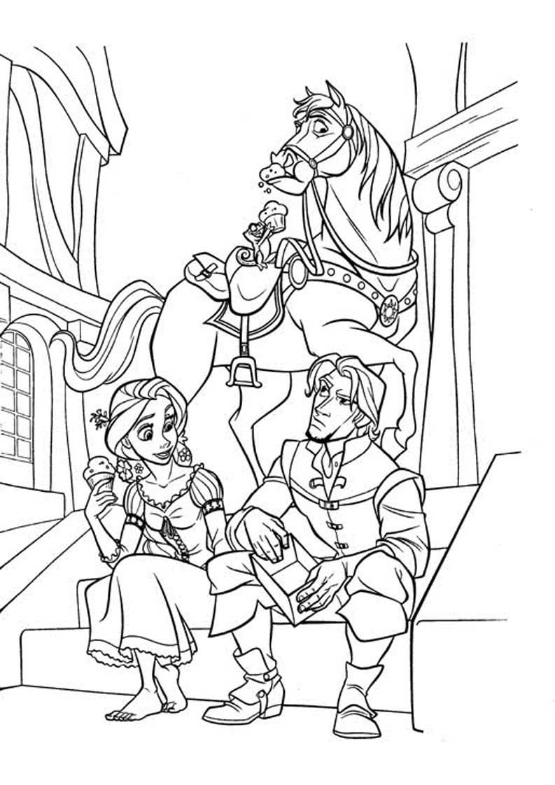 Difficult Tangled Coloring Pages Flynn Rider Pascal Maximus and Rapunzel