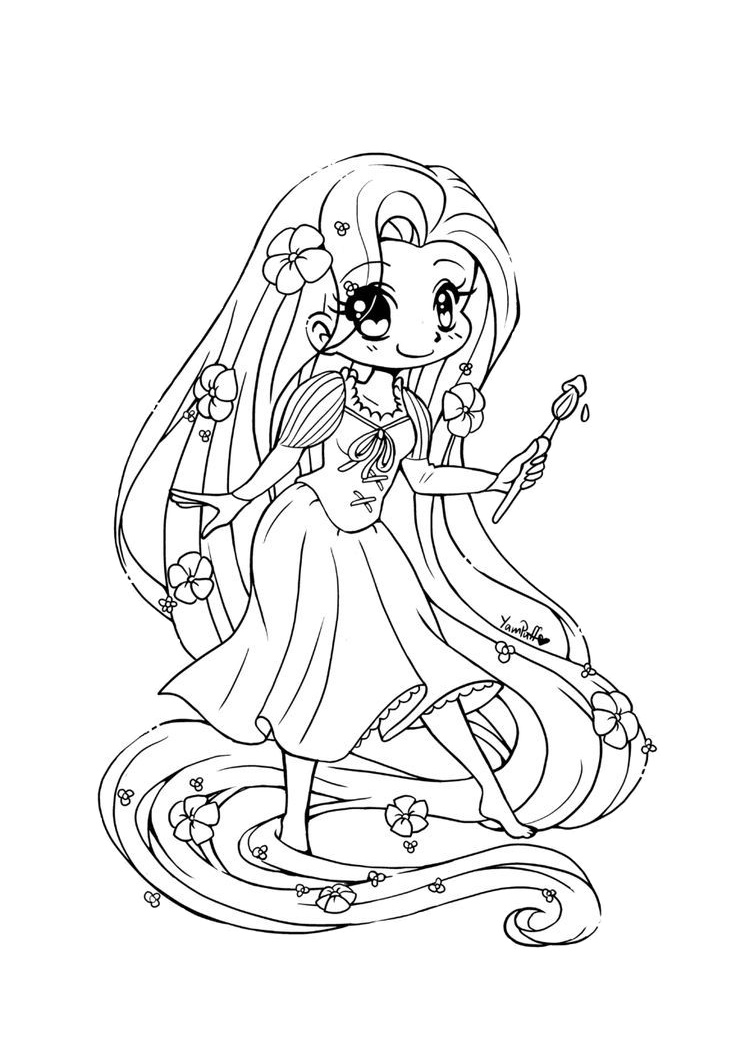 Tangled Cute Chibi Rapunzel Coloring Pages
