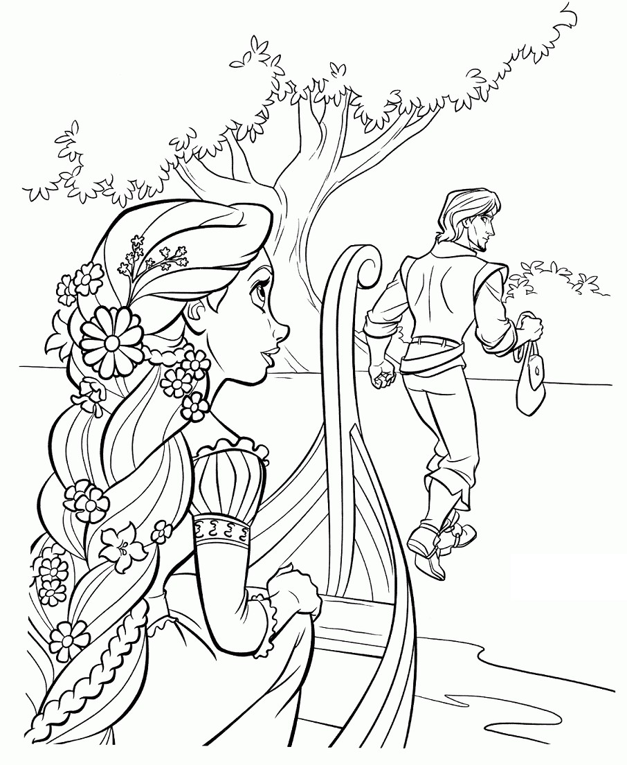Flynn Rider Returns the Diamond Back Rapunzel in a Boat Printable Tangled Coloring Sheets