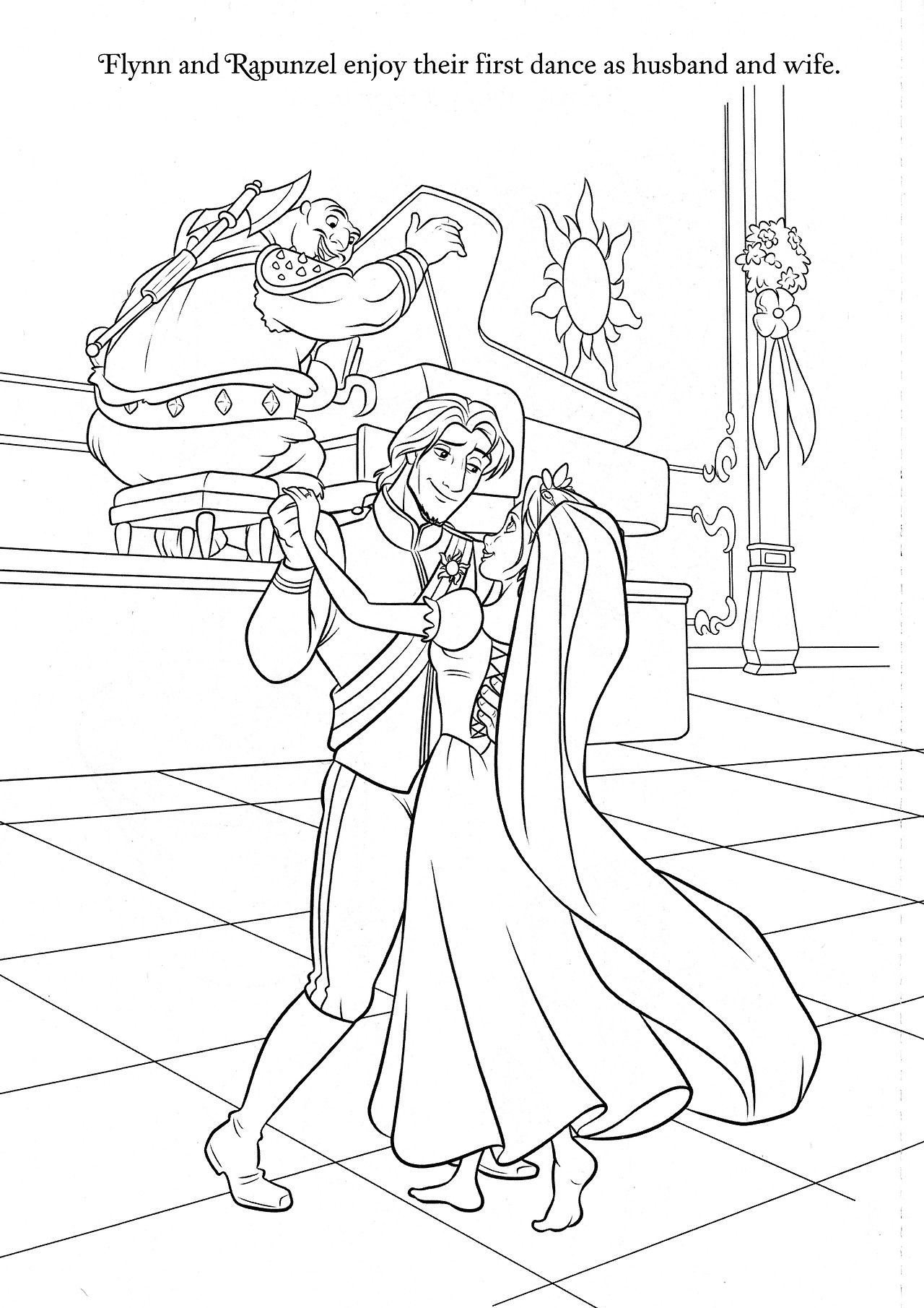 Flynn Rider and Rapunzel Wedding After Marriage Dance Tangled Coloring Pages