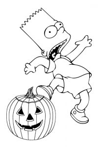 Free Bart Simpson Halloween Coloring Pages Screaming Bart Simpson with Carved Pumpkin for Halloween
