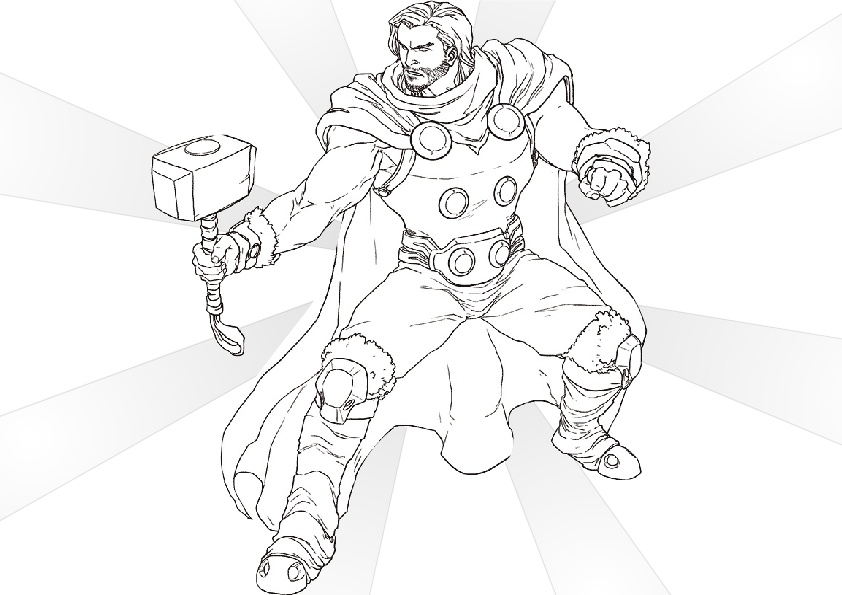 Free Printable Son of Odin Thor Coloring Pages