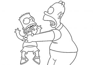 Funny Sad Angry Homer Simpson with Bart Simpson Printable Coloring Pages for Kids