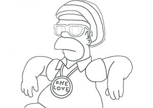 Gangster Look Home Simpsons Coloring Pages Gansta One Love