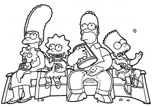 Halloween Simpson Family Printable Coloring Pages Simpsons Watching Halloween Special Movie