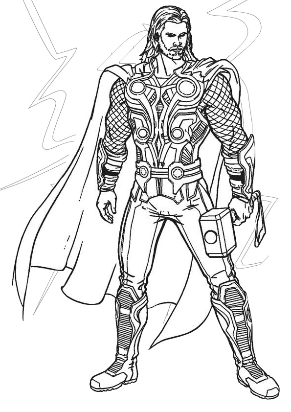 Lightning Demigod King of Norse gods Thor Coloring Pages