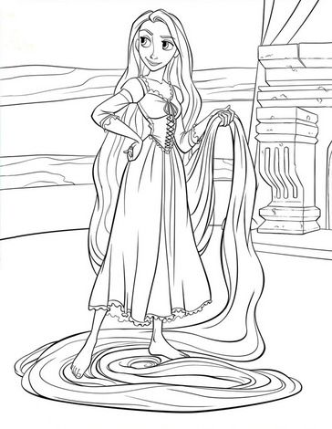 Princess Rapunzel Looking Cute with Her Magical Long Hair Tangled Coloring Pages