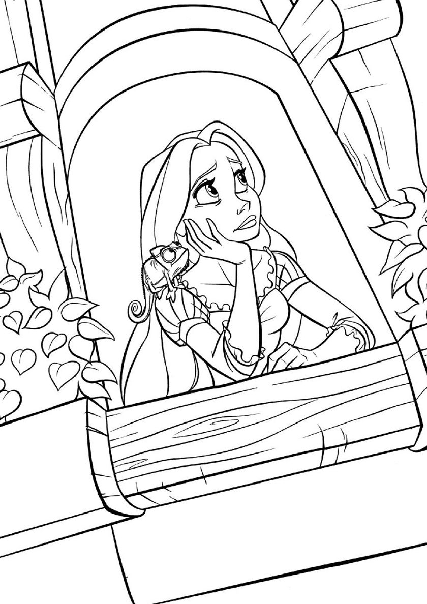 Princess Rapunzel Waiting at the Tower Tangled Coloring Pages