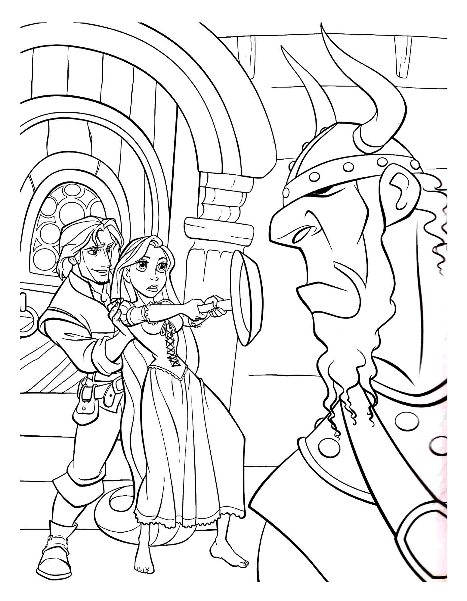 Rapunzel and Flynn Rider with the Weapon Frying Pan Tangled Detailed Adult Coloring Page
