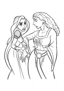 Rapunzel and Witch Mother Gothel Tangled Free Printable Coloring Pages