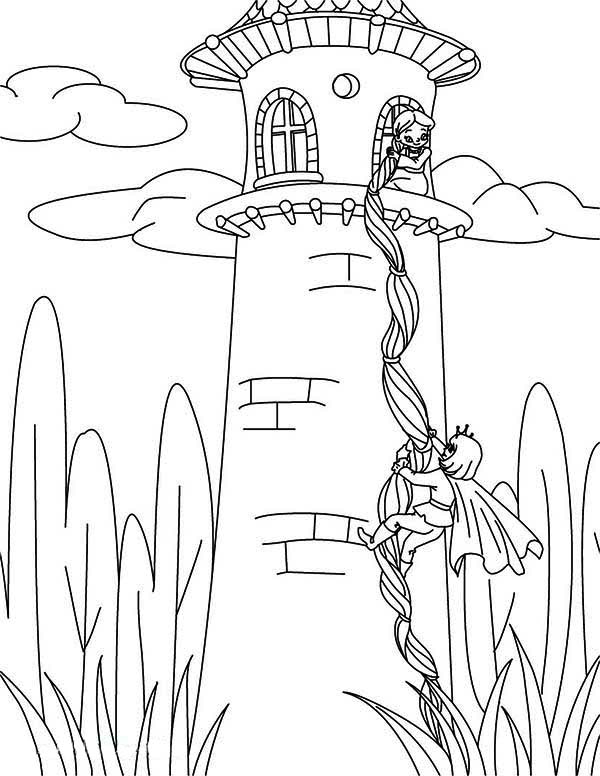 Rapunzel tangled tower coloring pages