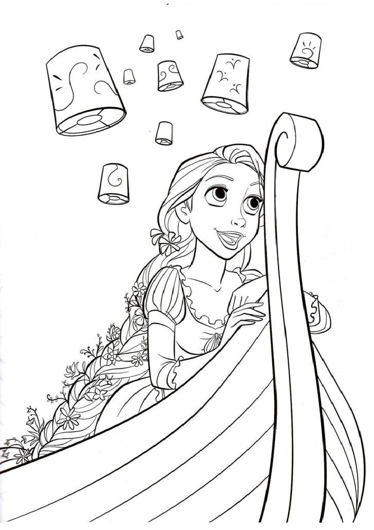 Rapunzel watching the lantern festival from a boat tangled coloring pages