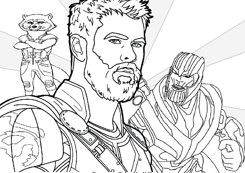 Rocket Raccoon Thor with Thanos Coloring Pages