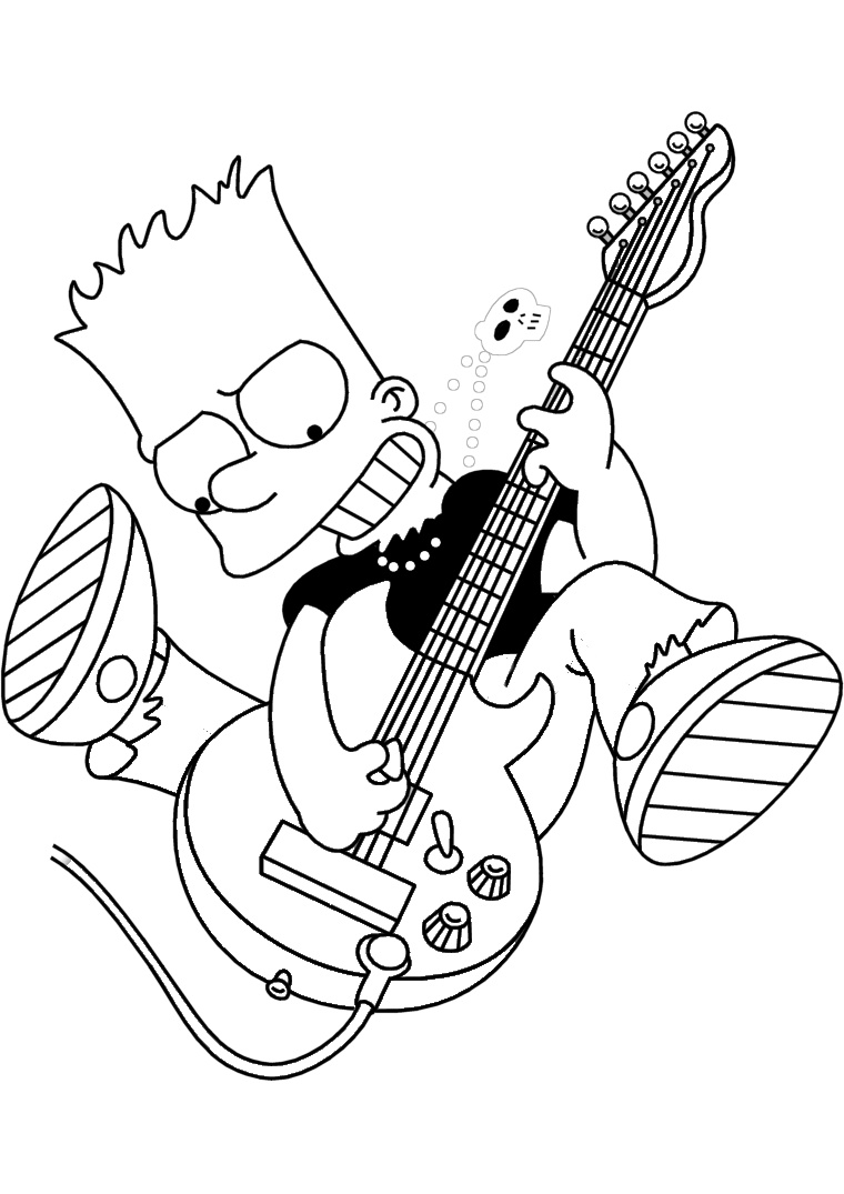 Sad Bart Simpson Coloring Pages Bart Playing Electric Guitar