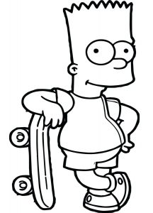 Simpsons Coloring Pages Bart Simpson with Skateboard