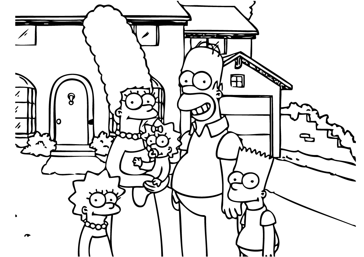 Simpsons Family Coloring Pages Homer Marge Bart Lisa Maggie