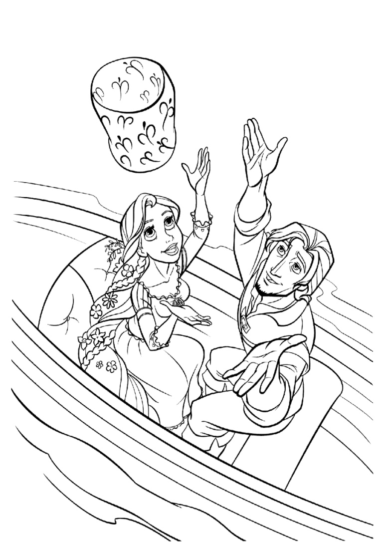 Tangled Coloring Pages Lantern Scene Rapunzel and Flynn at Boat