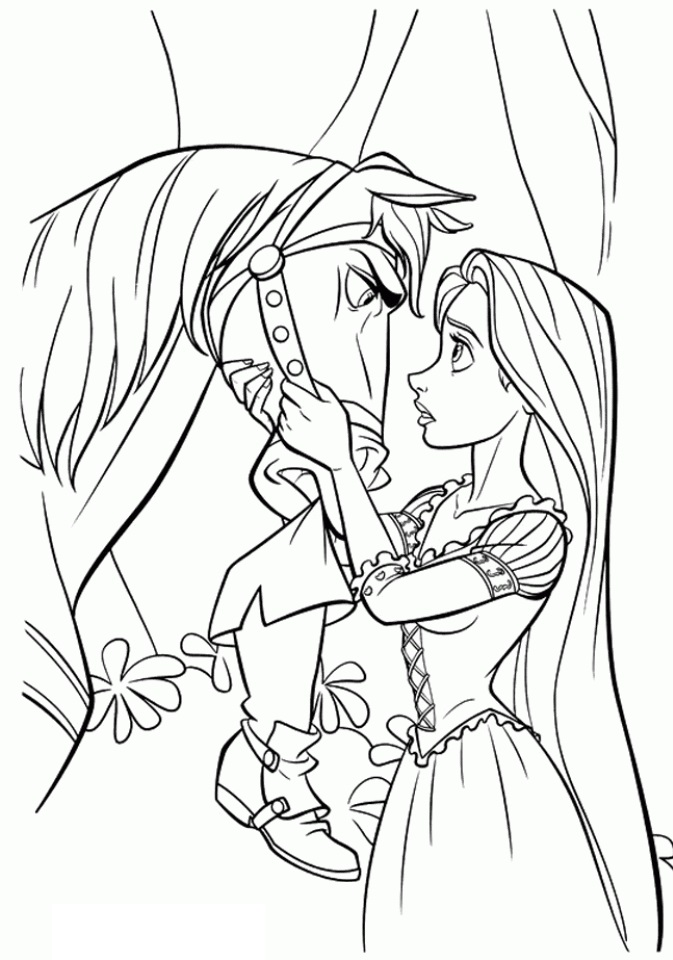 Tangled Maximus Horse and Princess Rapunzel Coloring Page
