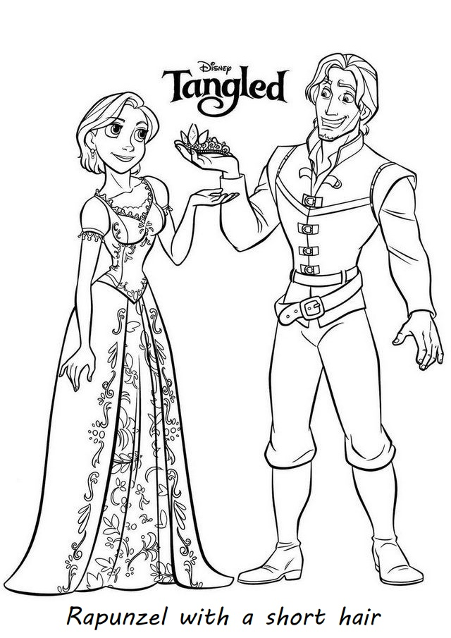Tangled Rapunzel with a short hair and Eugene Flynn Rider Coloring Pages
