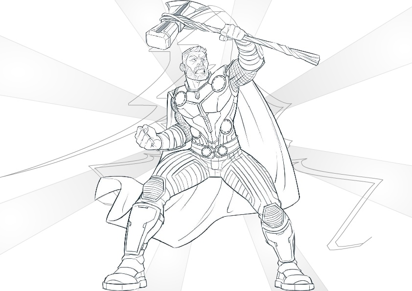 Thor With Forged Stormbreaker Coloring Pages Avengers Endgame