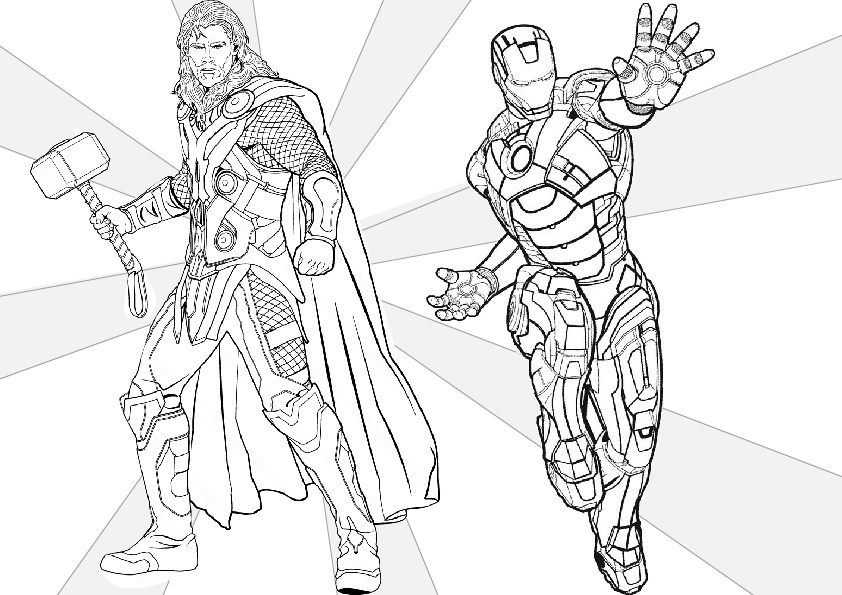 Thor and Iron Man Coloring Pages Avengers