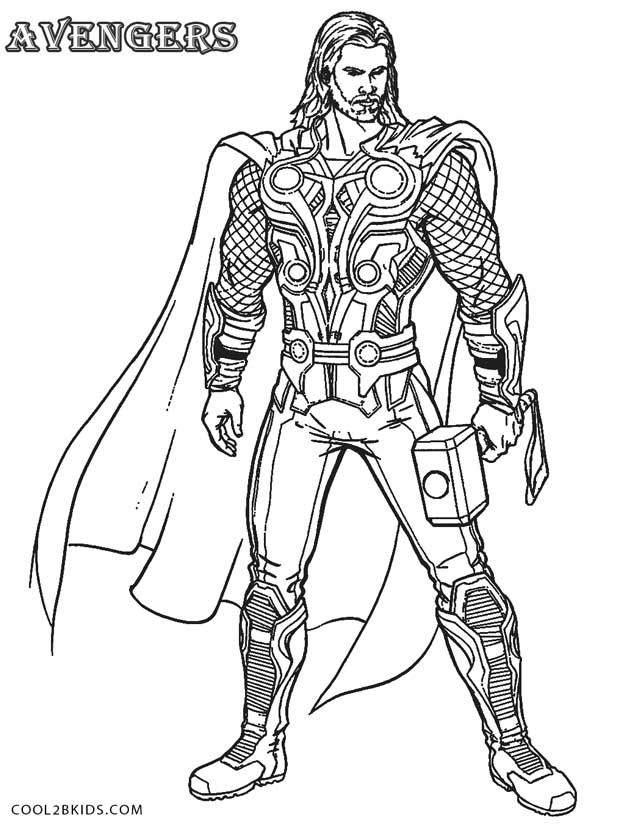 thor coloring pages 5 - Avengers Coloring Page