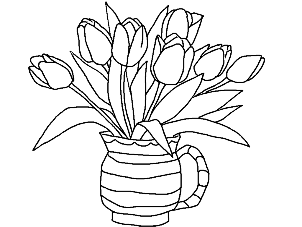 Tulips flowers coloring pages and Tulips Crafts : spring is here