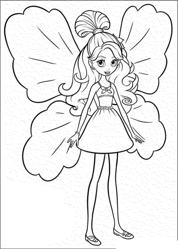 Cute Barbie Butterfly coloring page