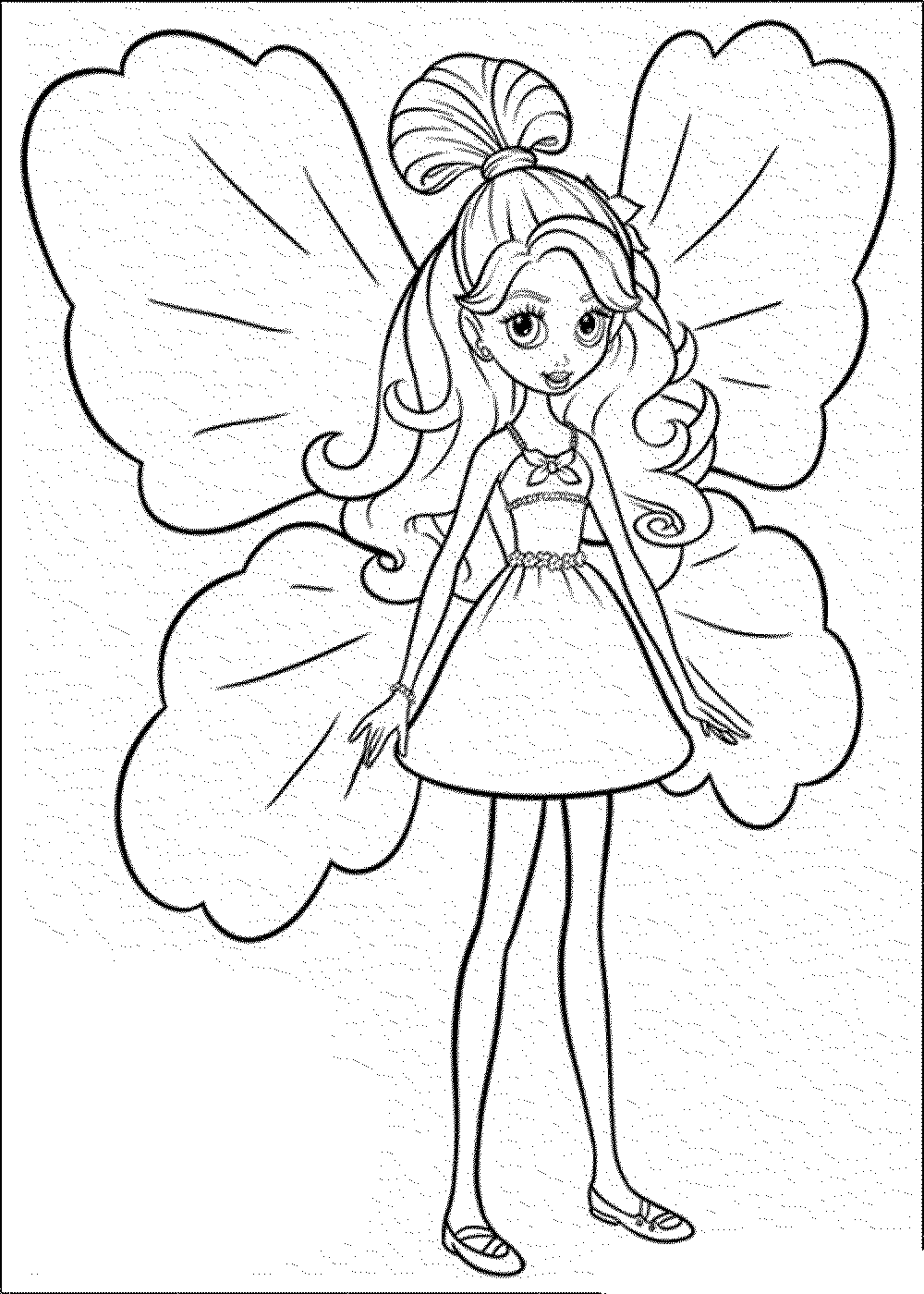 Colouring in pages for girls butterflies - Cute Barbie Butterfly Coloring Page