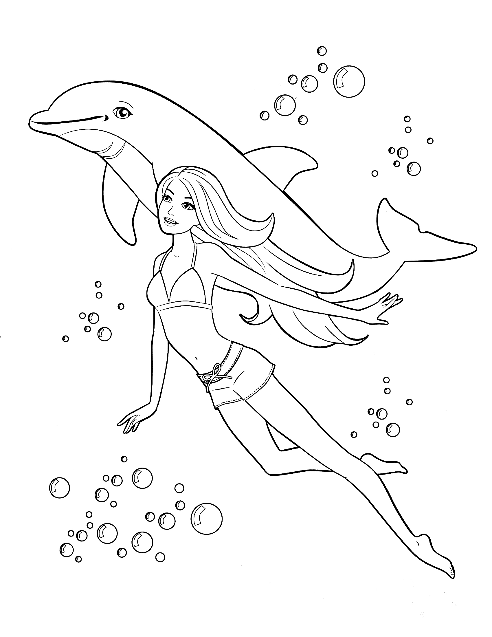 Barbie Doll Princess Coloring Pages Have A Great Time With Her Friend Dolphin