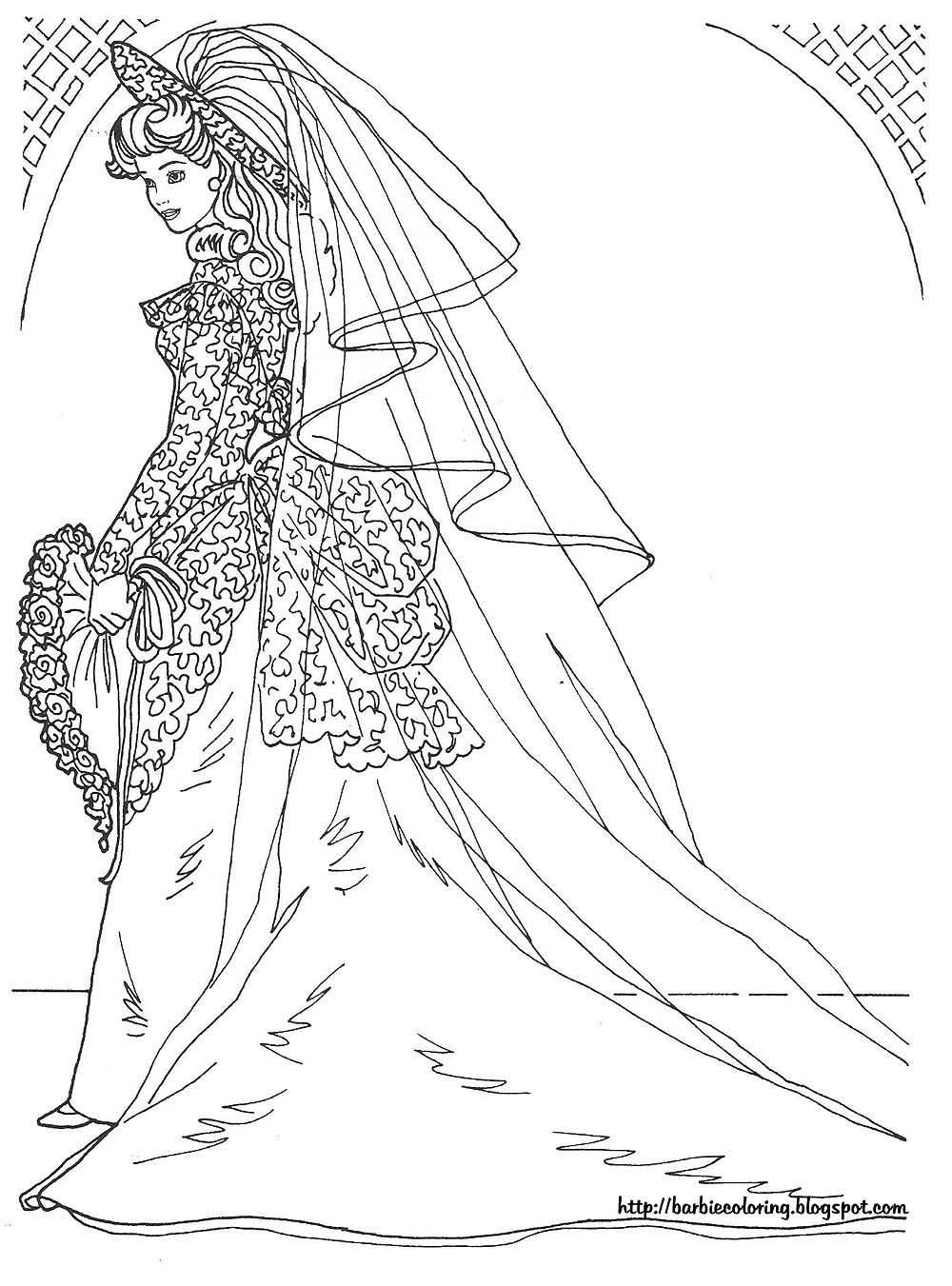 princess barbie coloring page - Barbie Coloring Page