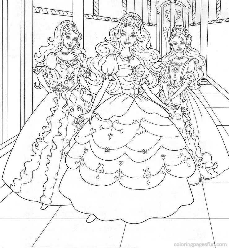 85 Barbie Coloring Pages For Girls Princess Friends