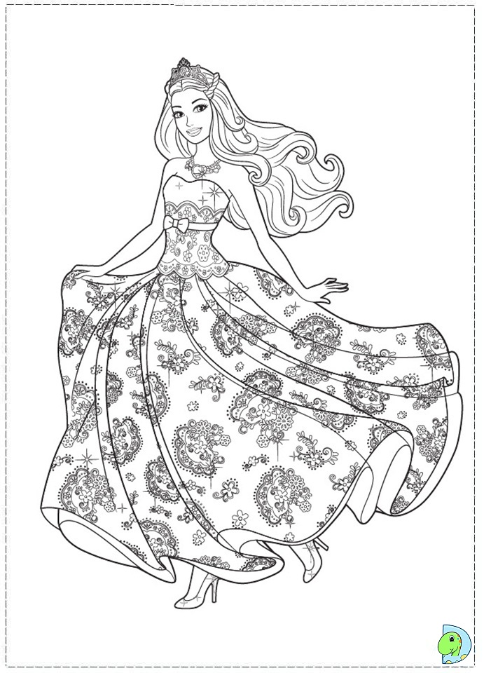 Barbie with her floral printed dress barbie coloring sheet