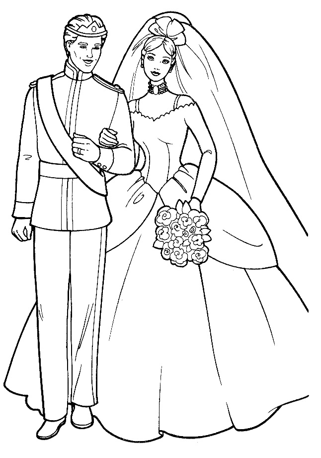 Barbie and ken prince coloring page