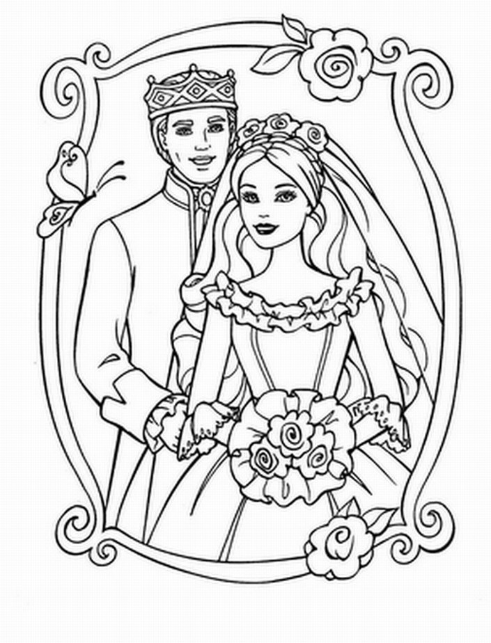 barbie princess coloring pages for girls barbie and prince wedding day coloring picture