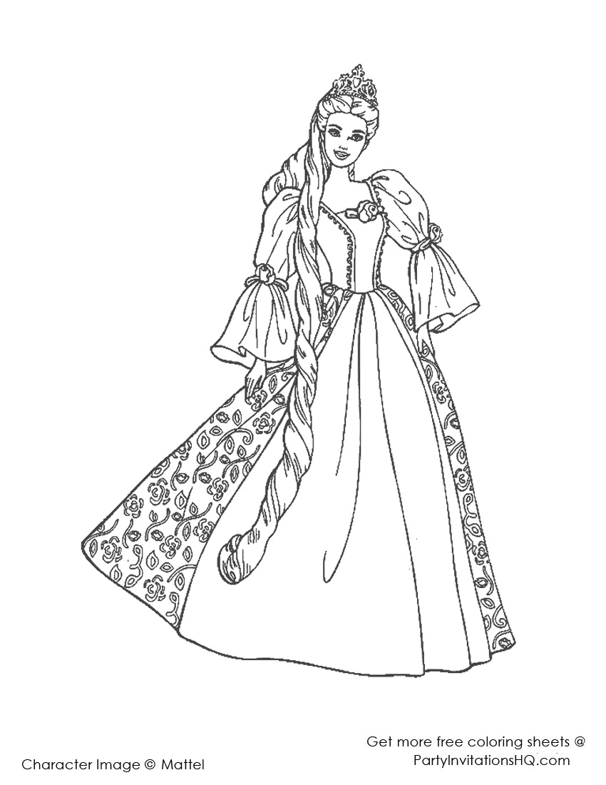 85 Barbie Coloring Pages For Girls Barbie Princess And The Princess And The Pauper Free Coloring Sheets