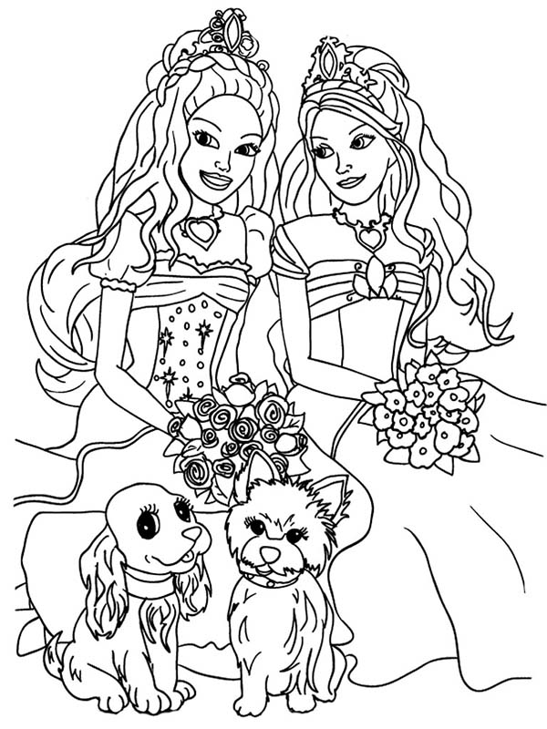 Coloring Page Barbie With Her Friend And Pet Dog Cat Wit Bunch Of