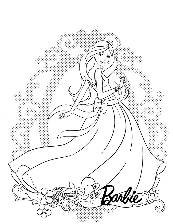 Coloring page of Barbie doll charming face