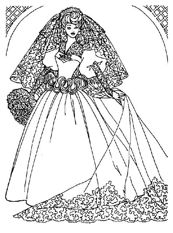 Barbie doll coloring page after wedding